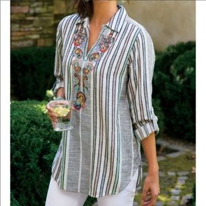 Soft Surroundings Floral Embroidered Tunic Top